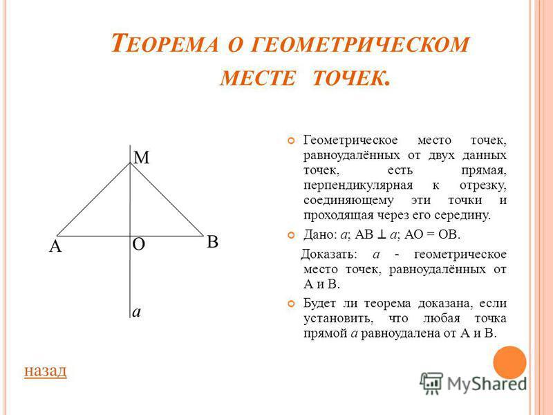 Г ЕОМЕТРИЧЕСКОЕ МЕСТО ТОЧЕК. Геометрическим местом точек называется фигура, которая состоит из всех точек плоскости, обладающих определенным свойством. Объясните, почему окружность является геометрическим местом точек, равноудалённых от данной точки.