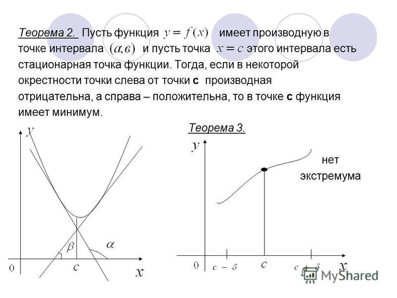 Теорема 2. Пусть функция имеет производную в точке интервала и пусть точка этого интервала есть стационарная точка функции. Тогда, если в некоторой окрестности точки слева от точки с производная отрицательна, а справа – положительна, то в точке с фун