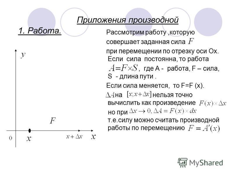 Приложения производной 1. Работа. Рассмотрим работу,которую совершает заданная сила при перемещении по отрезку оси Ох. Если сила постоянна, то работа, где А - работа, F – сила, S - длина пути. Если сила меняется, то F=F (x). на нельзя точно вычислить