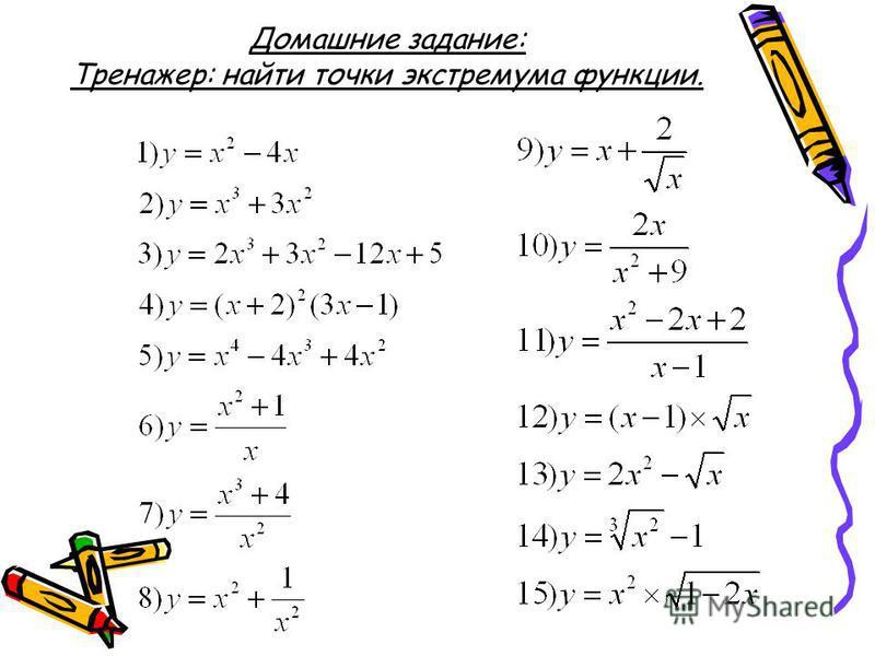 Домашние задание: Тренажер: найти точки экстремума функции.