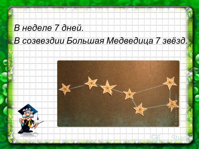 В неделе 7 дней. В созвездии Большая Медведица 7 звёзд.