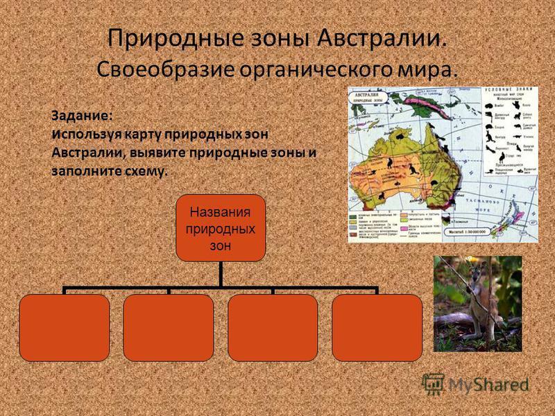Природные зоны Австралии. Своеобразие органического мира. Задание: используя карту природных зон Австралии, выявите природные зоны и заполните схему. Названия природных зон
