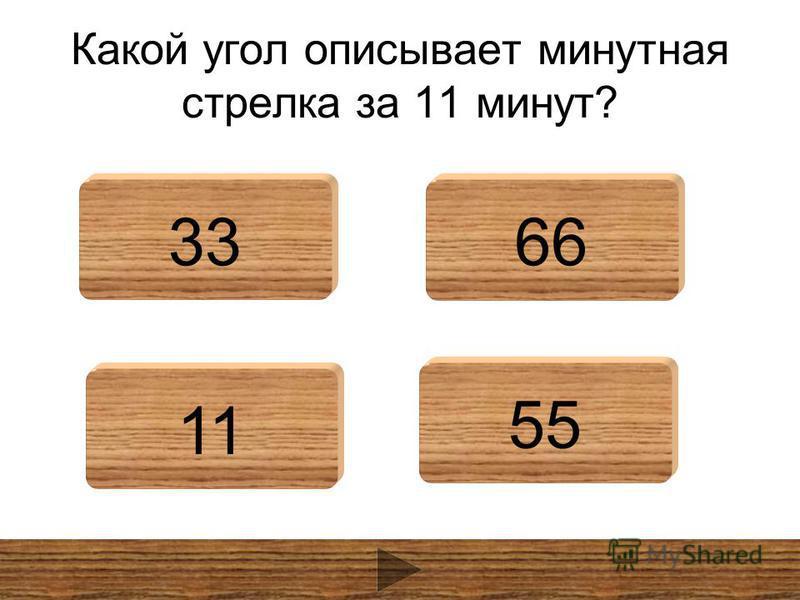 Какой угол описывает минутная стрелка за 11 минут? 3366 11 55