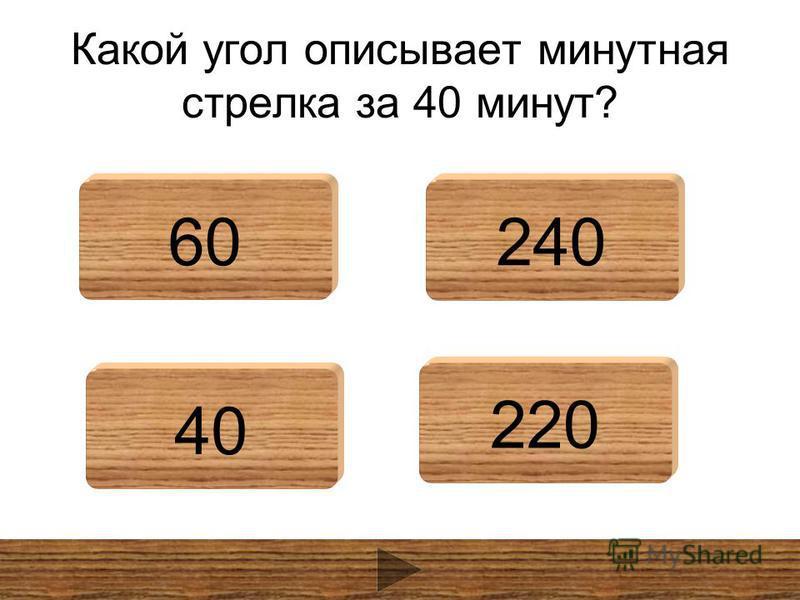 Какой угол описывает минутная стрелка за 40 минут? 60240 40 220