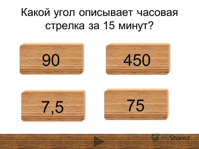 Какой угол описывает часовая стрелка за 15 минут? 90450 7,5 75