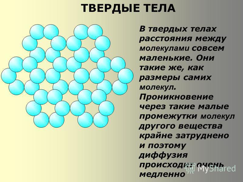 ТВЕРДЫЕ ТЕЛА В твердых телах расстояния между молекулами совсем маленькие. Они такие же, как размеры самих молекул. Проникновение через такие малые промежутки молекул другого вещества крайне затруднено и поэтому диффузия происходит очень медленно