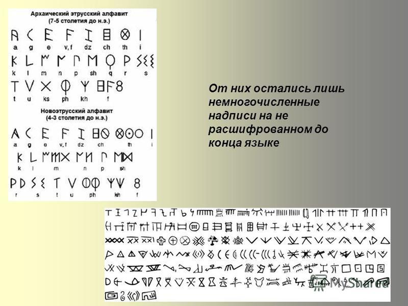 От них остались лишь немногочисленные надписи на не расшифрованном до конца языке