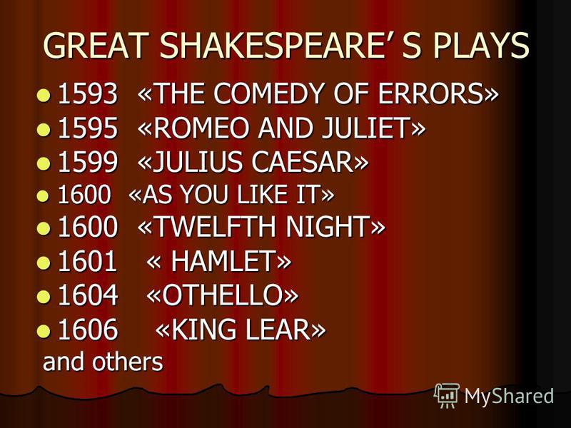 GREAT SHAKESPEARE S PLAYS 1593 «THE COMEDY OF ERRORS» 1593 «THE COMEDY OF ERRORS» 1595 «ROMEO AND JULIET» 1595 «ROMEO AND JULIET» 1599 «JULIUS CAESAR» 1599 «JULIUS CAESAR» 1600 «AS YOU LIKE IT» 1600 «AS YOU LIKE IT» 1600 «TWELFTH NIGHT» 1600 «TWELFTH