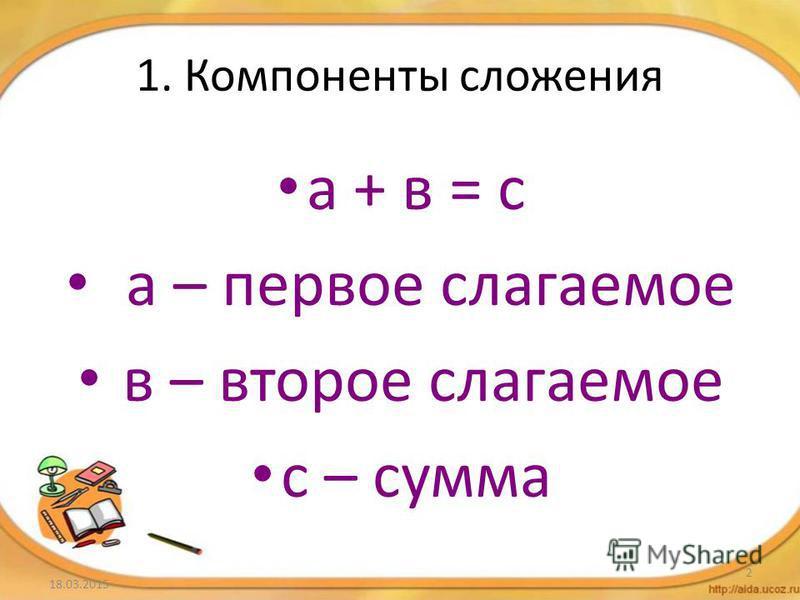1. Компоненты сложения а + в = с а – первое слагаемое в – второе слагаемое с – сумма 18.03.2015 2