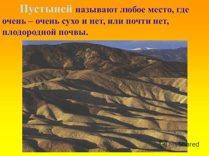 Пустыней называют любое место, где очень – очень сухо и нет, или почти нет, плодородной почвы.