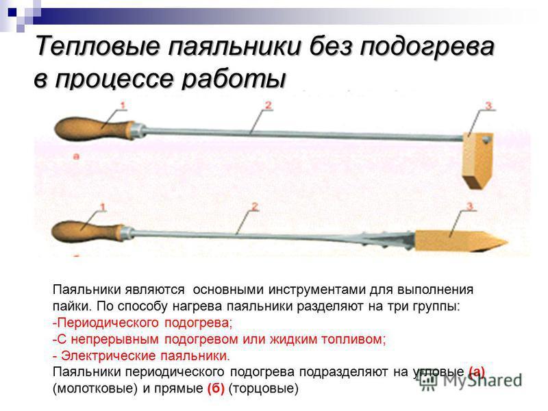 Тепловые паяльники без подогрева в процессе работы Паяльники являются основными инструментами для выполнения пайки. По способу нагрева паяльники разделяют на три группы: -Периодического подогрева; -С непрерывным подогревом или жидким топливом; - Элек