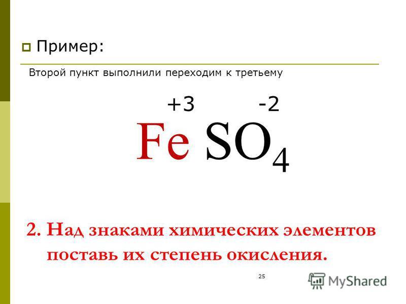 25 2. Над знаками химических элементов поставь их степень окисления. Пример: FeSO 4 +3-2 Второй пункт выполнили переходим к третьему