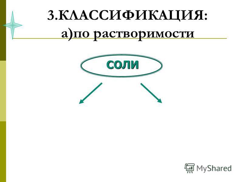 3.КЛАССИФИКАЦИЯ: а)по растворимости СОЛИ