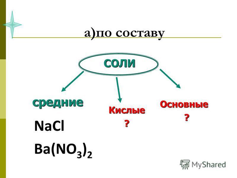 а)по составу NaCl Ba(NO 3 ) 2 СОЛИ средние Кислые? Основные ?