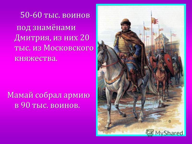 50-60 тыс. воинов 50-60 тыс. воинов под знамёнами Дмитрия, из них 20 тыс. из Московского княжества. под знамёнами Дмитрия, из них 20 тыс. из Московского княжества. Мамай собрал армию в 90 тыс. воинов.