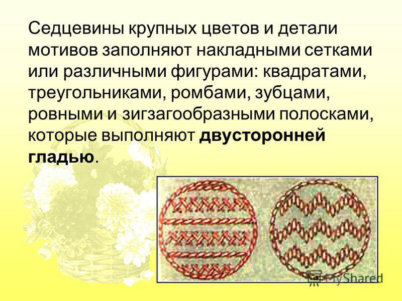 Седцевины крупных цветов и детали мотивов заполняют накладными сетками или различными фигурами: квадратами, треугольниками, ромбами, зубцами, ровными и зигзагообразными полосками, которые выполняют двусторонней гладью.