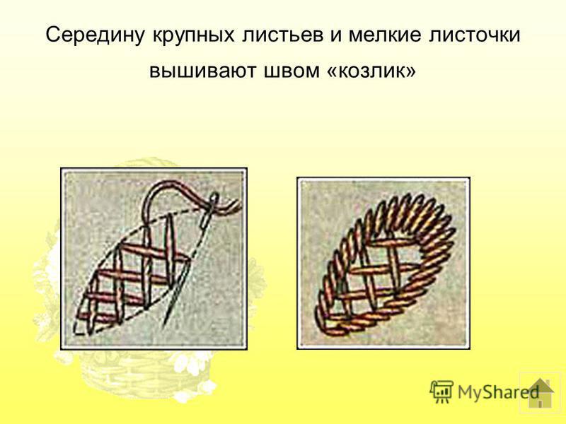 Середину крупных листьев и мелкие листочки вышивают швом «козлик»