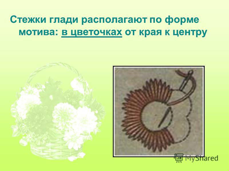 Стежки глади располагают по форме мотива: в цветочках от края к центру
