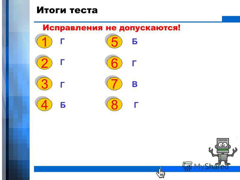 WWW.YOUR-COMPANY-URL.COM Итоги теста Исправления не допускаются! Г Г Г Б 1 1 2 2 3 3 4 4 5 5 Б 6 6 Г 7 7 В 8 8 Г