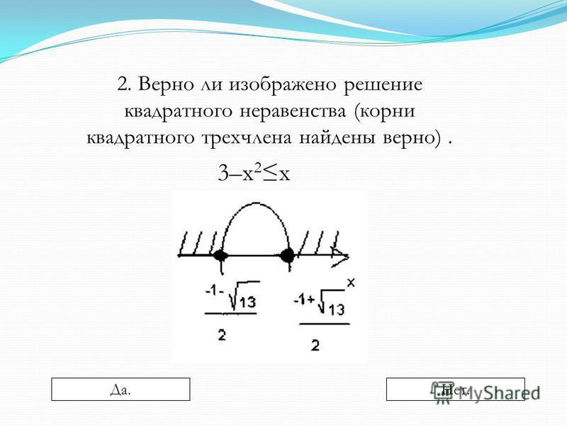 2. Верно ли изображено решение квадратного неравенства (корни квадратного трехчлена найдены верно). 3–х 2 х Да.Нет.