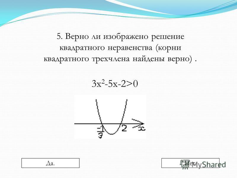 5. Верно ли изображено решение квадратного неравенства (корни квадратного трехчлена найдены верно). 3 х 2 -5 х-2>0 Да.Нет.