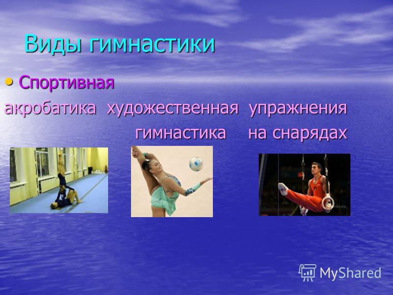Виды гимнастики Спортивная Спортивная акробатика художественная упражнения гимнастика на снарядах гимнастика на снарядах