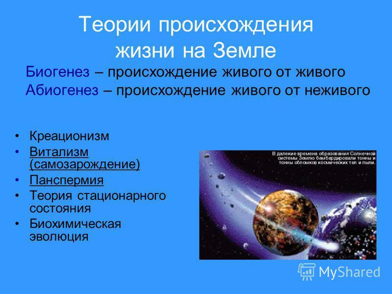 Теории происхождения жизни на Земле Креационизм Витализм (самозарождение)Витализм (самозарождение) Панспермия Теория стационарного состояния Биохимическая эволюция Биогенез – происхождение живого от живого Абиогенез – происхождение живого от неживого