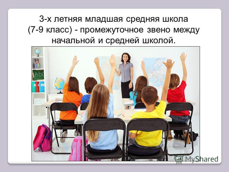 младшая средняя школа 3-х летняя младшая средняя школа (7-9 класс) - промежуточное звено между начальной и средней школой.