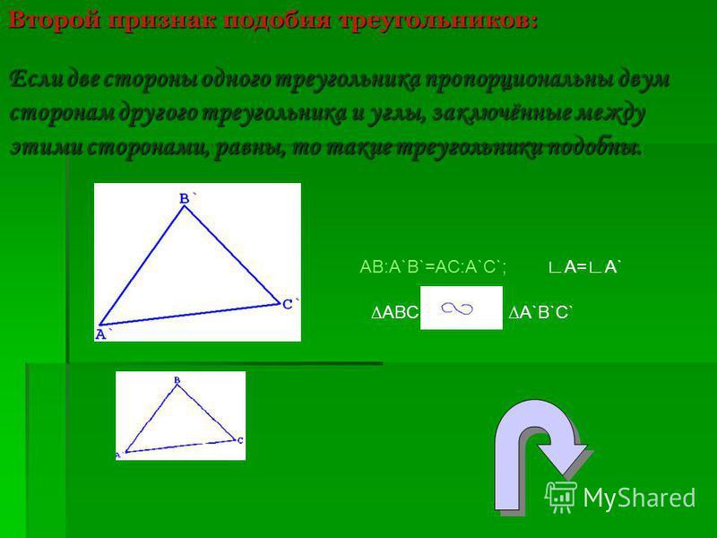 Второй признак подобия треугольников: Если две стороны одного треугольника пропорциональны двум сторонам другого треугольника и углы, заключённые между этими сторонами, равны, то такие треугольники подобны. АВ:А`B`=AC:A`C`; A=A` ABC A`B`C`