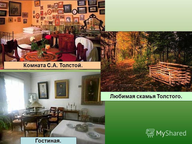 Комната С.А. Толстой. Гостиная. Любимая скамья Толстого.