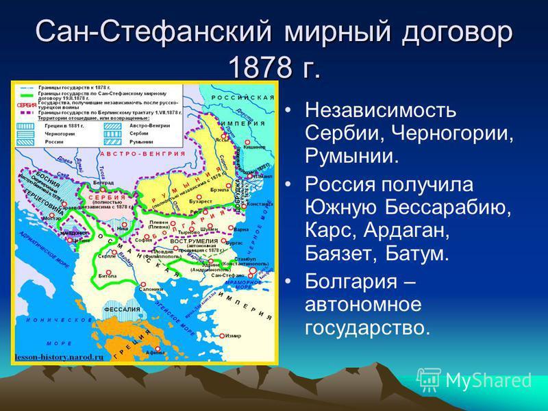 Сан-Стефанский мирный договор 1878 г. Независимость Сербии, Черногории, Румынии. Россия получила Южную Бессарабию, Карс, Ардаган, Баязет, Батум. Болгария – автономное государство.