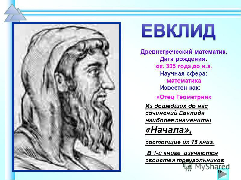 Из дошедших до нас сочинений Евклида наиболее знамениты «Начала», состоящие из 15 книг. В 1-й книге изучаются свойства треугольников В 1-й книге изучаются свойства треугольников 15 Древнегреческий математик. Дата рождения: ок. 325 года до н.э. Научна