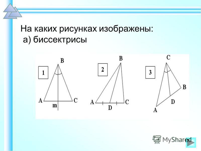 На каких рисунках изображены: а) биссектрисы 17