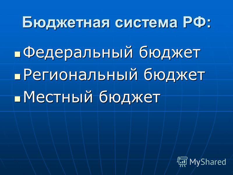 Бюджетная система РФ: Федеральный бюджет Федеральный бюджет Региональный бюджет Региональный бюджет Местный бюджет Местный бюджет