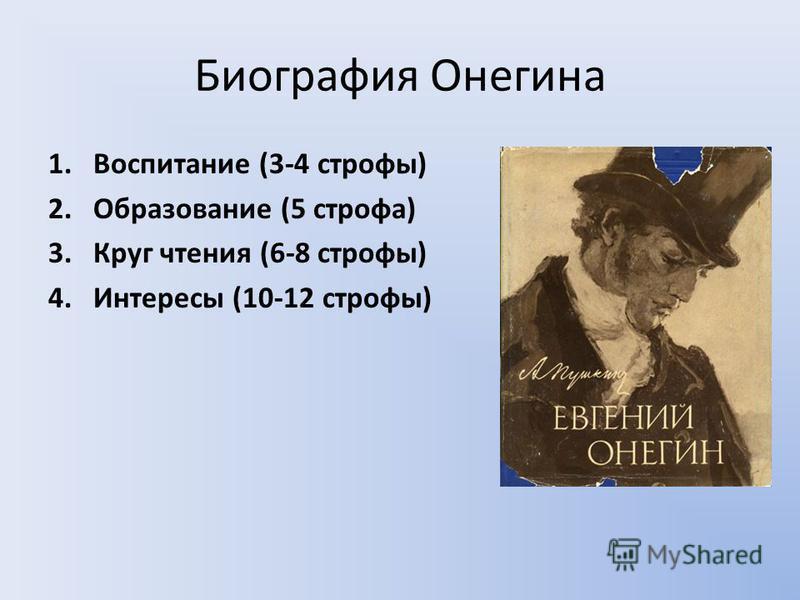 Биография Онегина 1. Воспитание (3-4 строфы) 2. Образование (5 строфа) 3. Круг чтения (6-8 строфы) 4. Интересы (10-12 строфы)