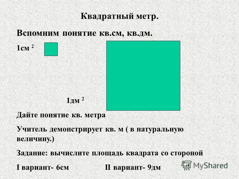 Квадратный метр. Вспомним понятие кв.см, кв.дм. 1 см 2 1 дм 2 Дайте понятие кв. метра Учитель демонстрирует кв. м ( в натуральную величину.) Задание: вычислите площадь квадрата со стороной I вариант- 6 см II вариант- 9 дм
