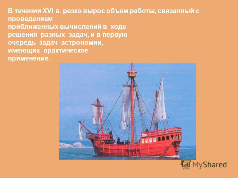 В течении XVI в. резко вырос объем работы, связанный с проведением приближенных вычислений в ходе решения разных задач, и в первую очередь задач астрономии, имеющих практическое применение.