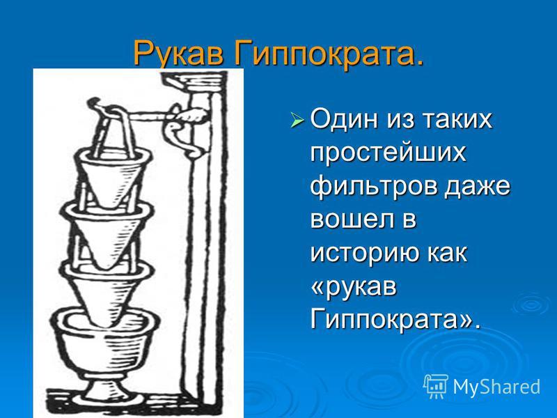 Рукав Гиппократа. Один из таких простейших фильтров даже вошел в историю как «рукав Гиппократа». Один из таких простейших фильтров даже вошел в историю как «рукав Гиппократа».