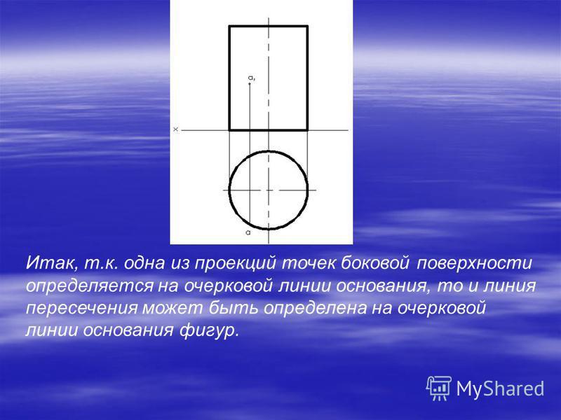 Итак, т.к. одна из проекций точек боковой поверхности определяется на очерковой линии основания, то и линия пересечения может быть определена на очерковой линии основания фигур.