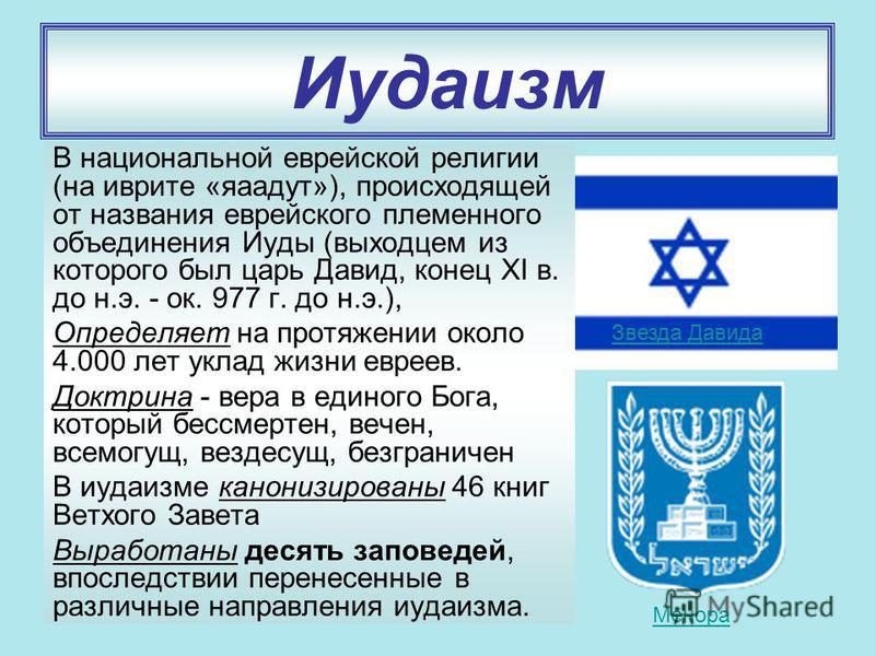 Иудаизм В национальной еврейской религии (на иврите «яаадут»), происходящей от названия еврейского племенного объединения Иуды (выходцем из которого был царь Давид, конец XI в. до н.э. - ок. 977 г. до н.э.), Определяет на протяжении около 4.000 лет у