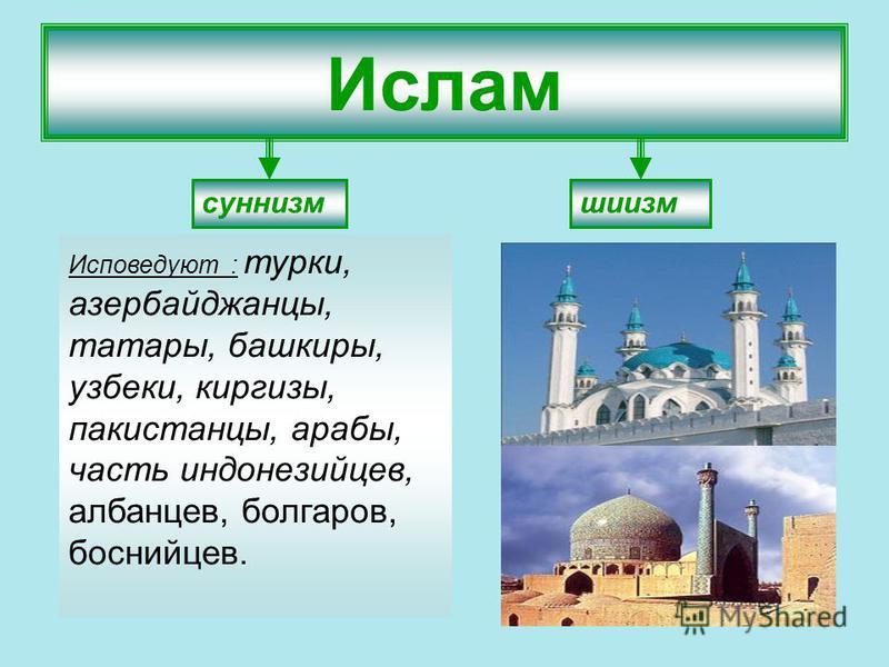 Ислам суннизм шиизм Исповедуют : турки, азербайджанцы, татары, башкиры, узбеки, киргизы, пакистанцы, арабы, часть индонезийцев, албанцев, булгаров, боснийцев.