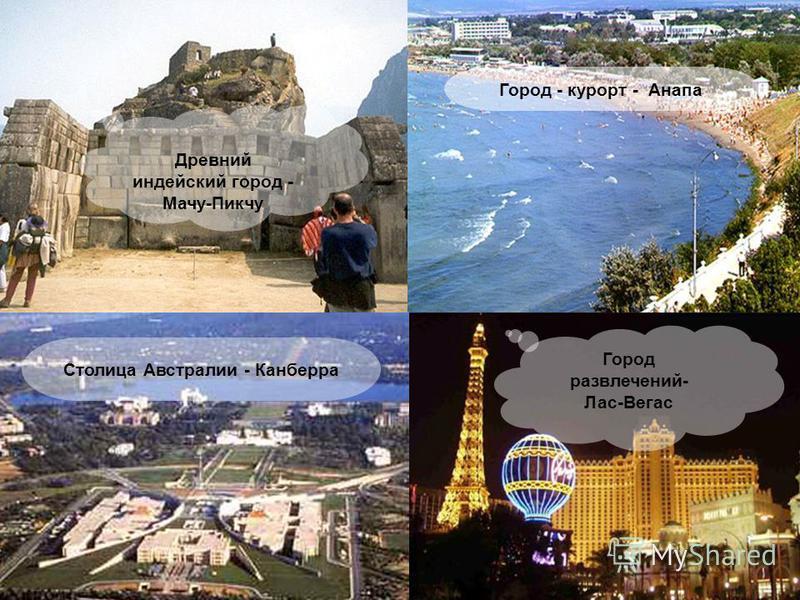 Древний индейский город - Мачу-Пикчу Столица Австралии - Канберра Город - курорт - Анапа Город развлечений- Лас-Вегас