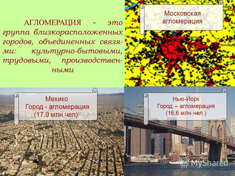 Московская агломерация АГЛОМЕРАЦИЯ - это группа близкорасположенных городов, объединенных связями: культурно-бытовыми, трудовыми, производственными Нью-Йорк Город – агломерация (16,6 млн.чел.) Мехико Город - агломерация (17,9 млн.чел)
