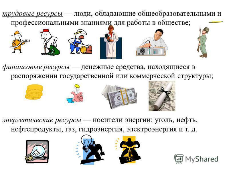 трудовые ресурсы люди, обладающие общеобразовательными и профессиональными знаниями для работы в обществе; финансовые ресурсы денежные средства, находящиеся в распоряжении государственной или коммерческой структуры; энергетические ресурсы носители эн