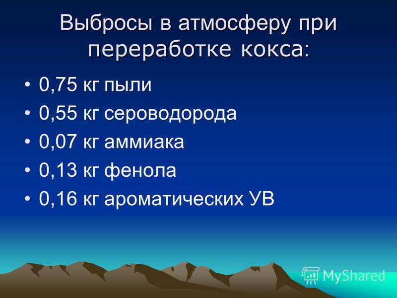 Выбросы в атмосферу при переработке кокса : 0,75 кг пыли 0,55 кг сероводорода 0,07 кг аммиака 0,13 кг фенола 0,16 кг ароматических УВ