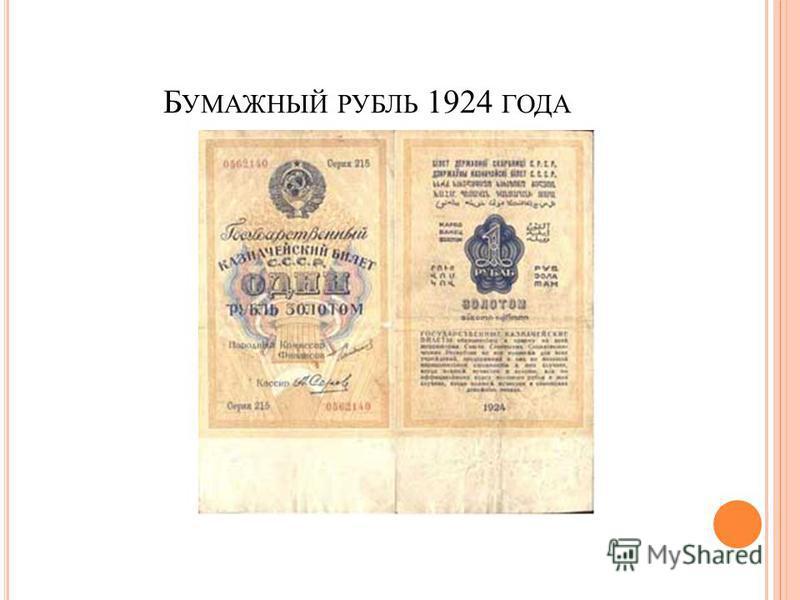 Б УМАЖНЫЙ РУБЛЬ 1924 ГОДА