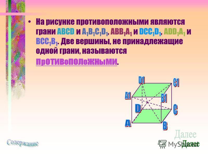 На рисунке противоположными являются грани ABCD и A 1 B 1 C 1 D 1, ABB 1 A 1 и DCC 1 D 1, ADD 1 A 1 и BCC 1 B 1. Две вершины, не принадлежащие одной грани, называются противоположными.
