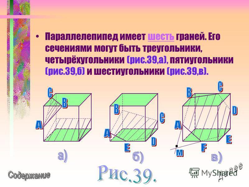 Параллелепипед имеет шесть граней. Его сечениями могут быть треугольники, четырёхугольники (рис.39,а), пятиугольники (рис.39,б) и шестиугольники (рис.39,в).