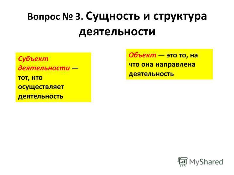 Вопрос 3. Сущность и структура деятельности Субъект деятельности тот, кто осуществляет деятельность Объект это то, на что она направлена деятельность