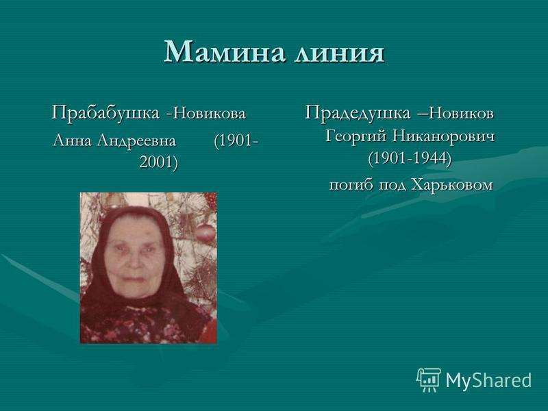 Мамина линия Прабабушка - Новикова Анна Андреевна (1901- 2001) Анна Андреевна (1901- 2001) Прадедушка – Новиков Георгий Никанорович (1901-1944) погиб под Харьковом